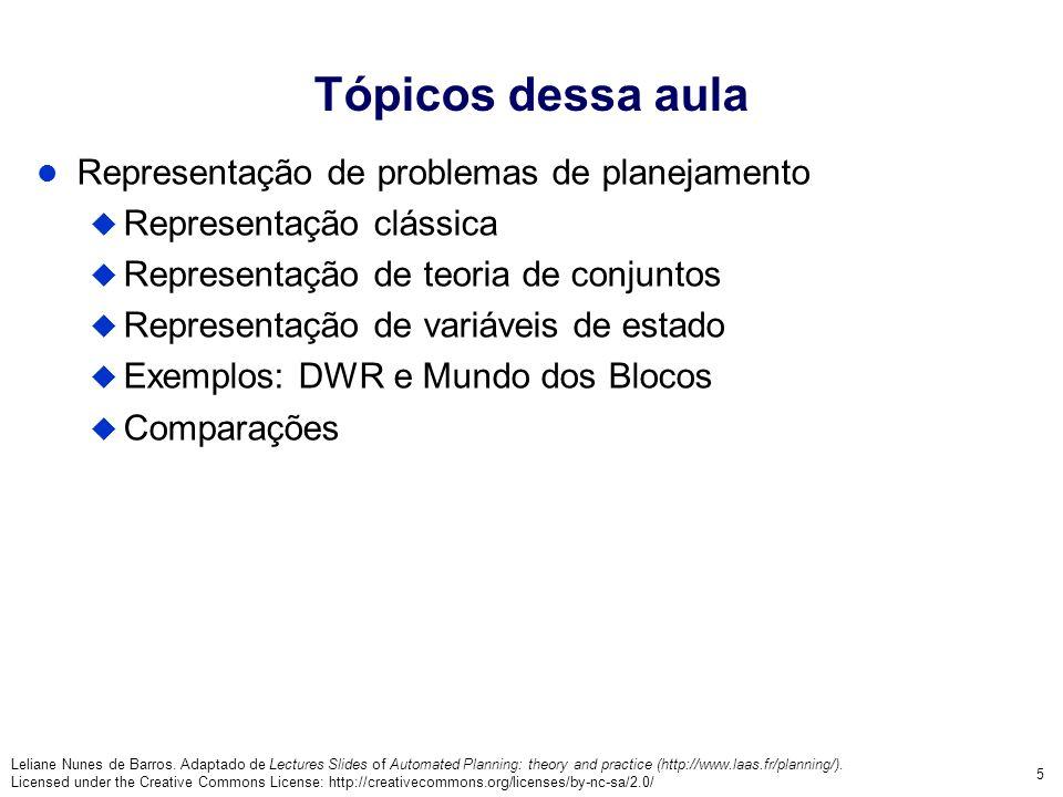 Tópicos dessa aula Representação de problemas de planejamento