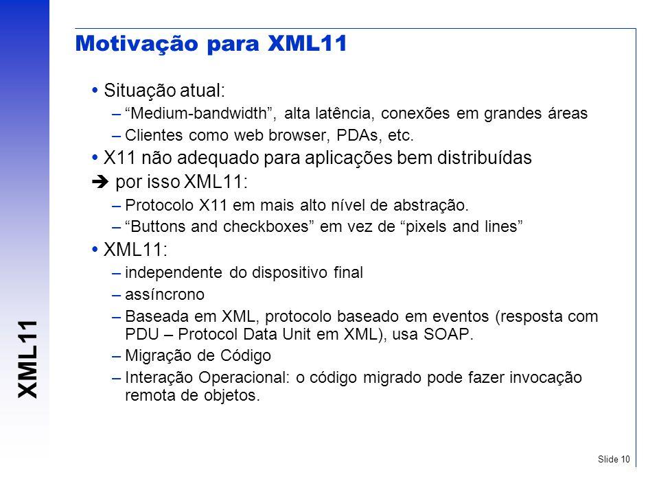 Motivação para XML11 Situação atual: