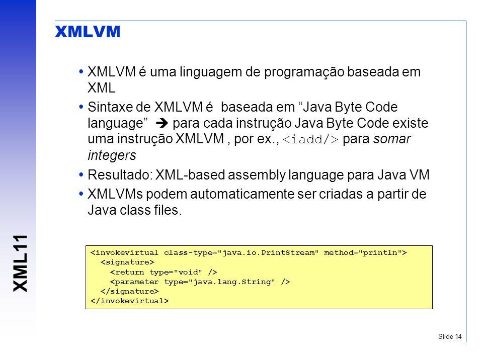 XMLVM XMLVM é uma linguagem de programação baseada em XML