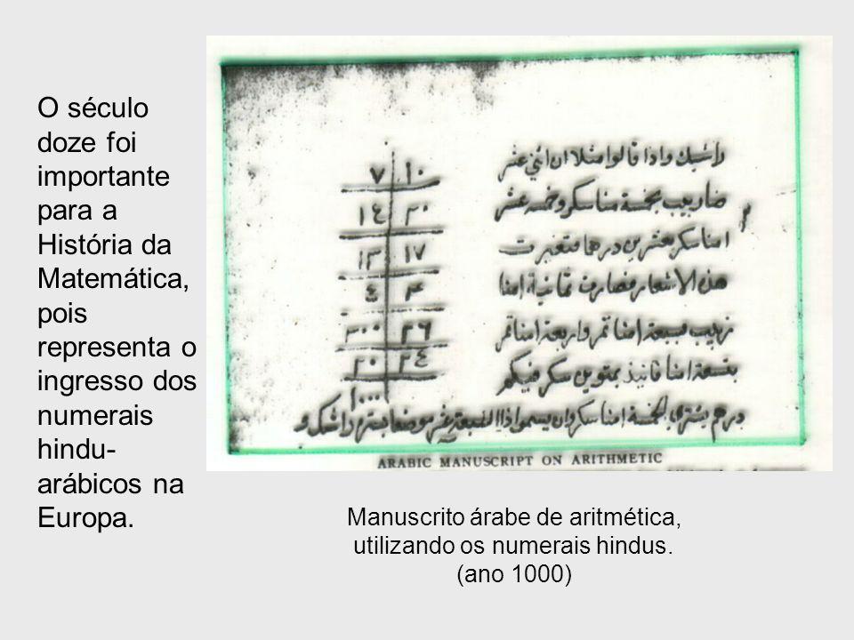 O século doze foi importante para a História da Matemática, pois representa o ingresso dos numerais hindu-arábicos na Europa.