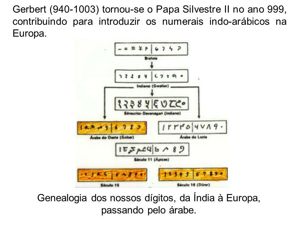 Genealogia dos nossos dígitos, da Índia à Europa, passando pelo árabe.