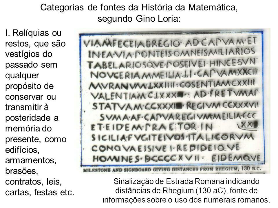 Categorias de fontes da História da Matemática,