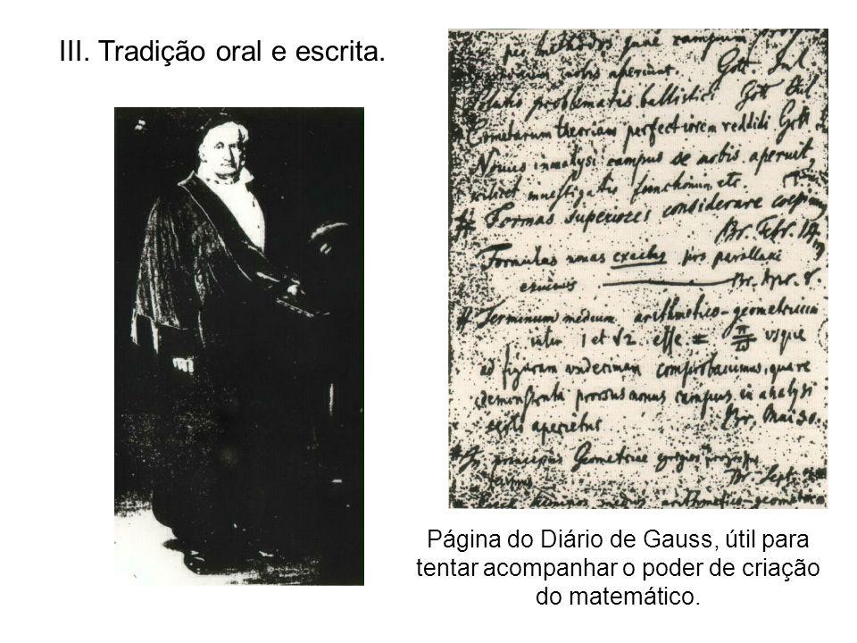 III. Tradição oral e escrita.