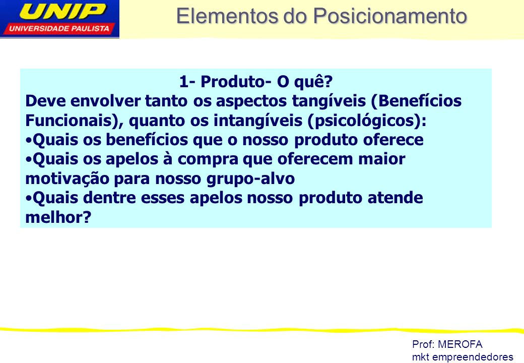 Elementos do Posicionamento