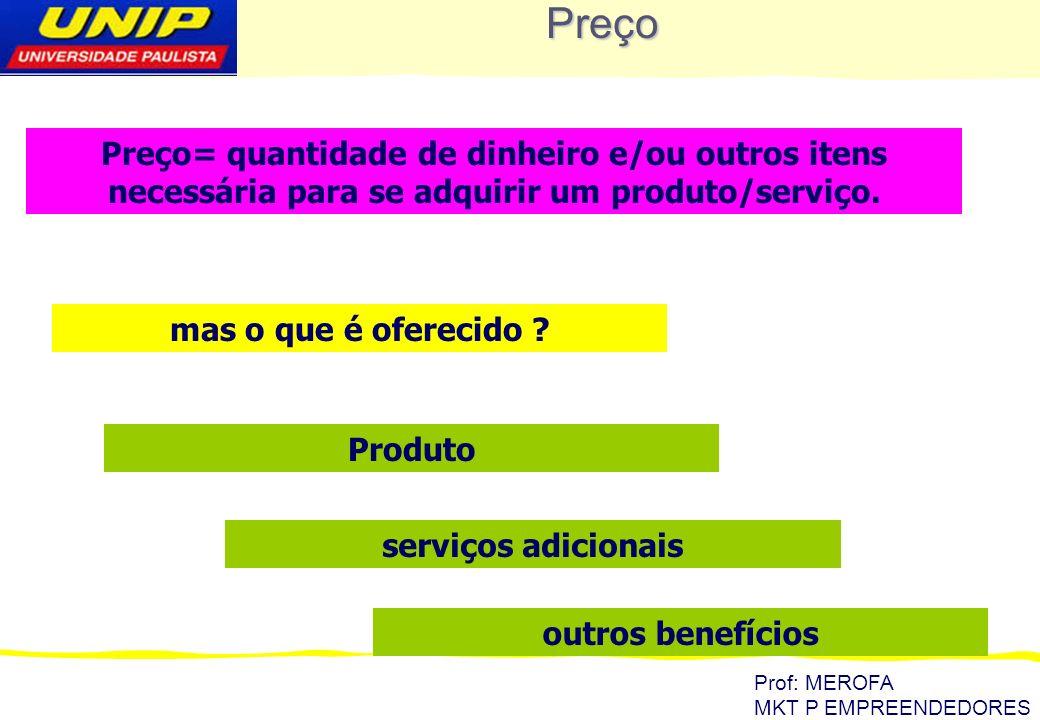 Preço Preço= quantidade de dinheiro e/ou outros itens necessária para se adquirir um produto/serviço.