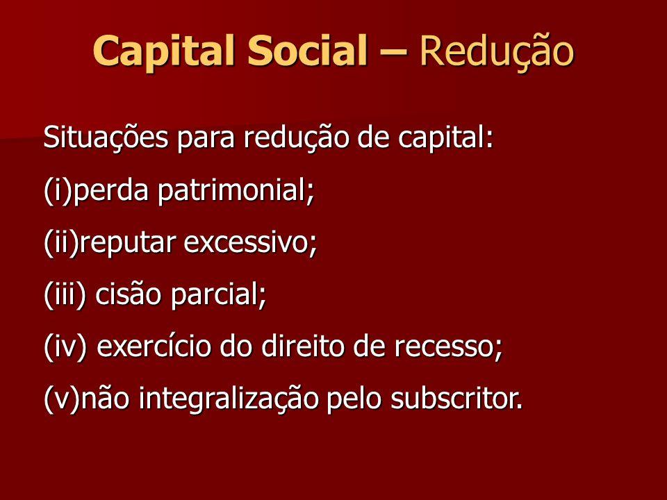 Capital Social – Redução