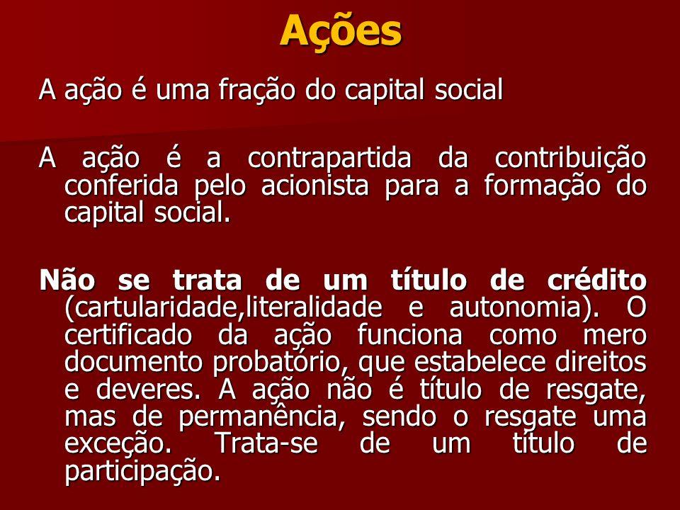 Ações A ação é uma fração do capital social