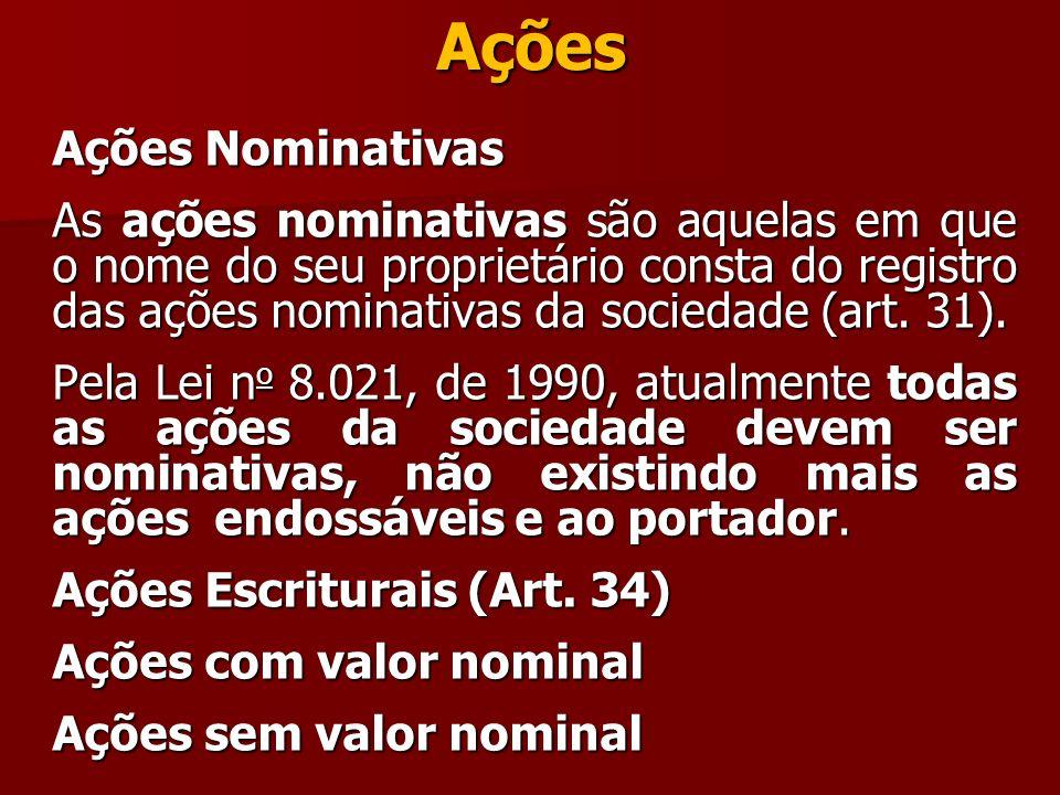Ações Ações Nominativas