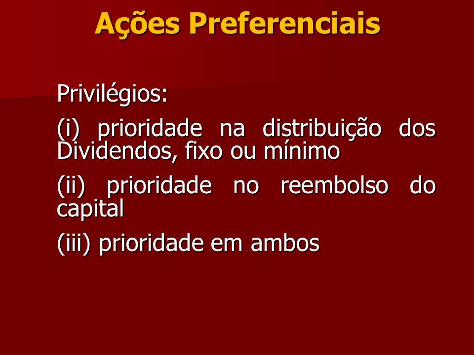 Ações Preferenciais Privilégios: