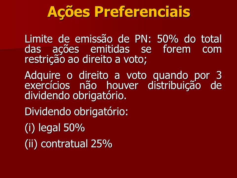 Ações Preferenciais Limite de emissão de PN: 50% do total das ações emitidas se forem com restrição ao direito a voto;