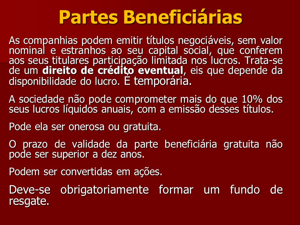 Partes Beneficiárias