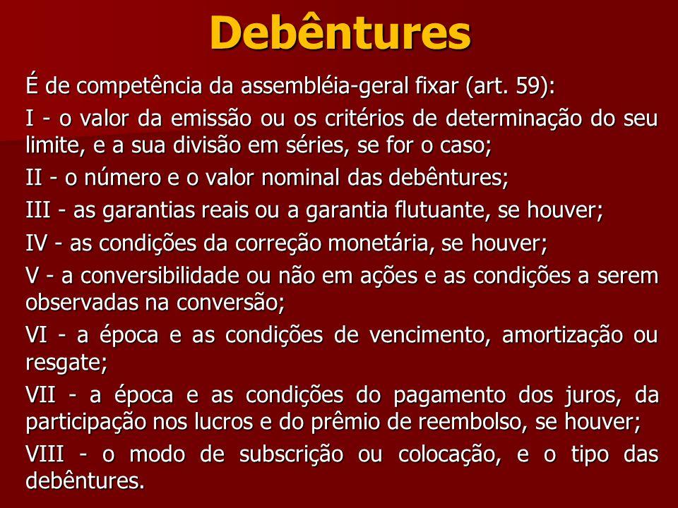 Debêntures É de competência da assembléia-geral fixar (art. 59):