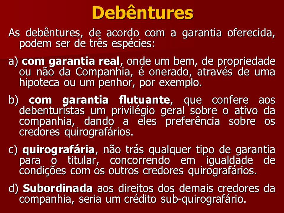 Debêntures As debêntures, de acordo com a garantia oferecida, podem ser de três espécies:
