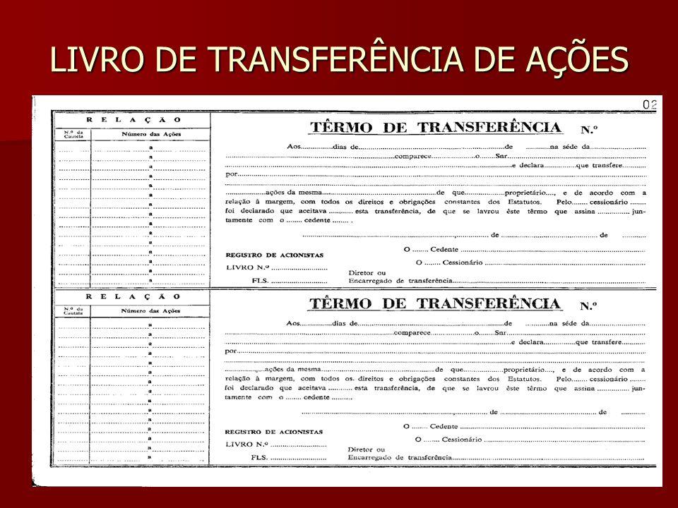 LIVRO DE TRANSFERÊNCIA DE AÇÕES