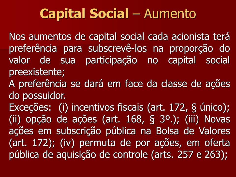 Capital Social – Aumento