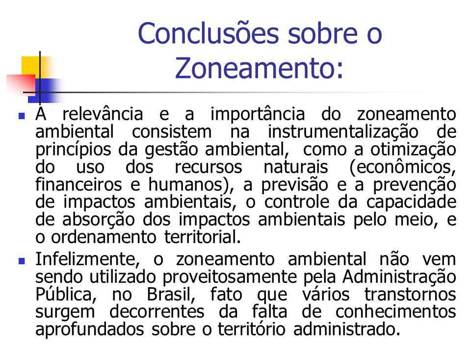 Conclusões sobre o Zoneamento: