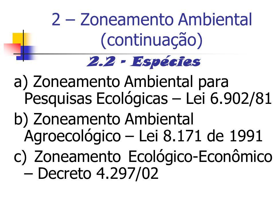 2 – Zoneamento Ambiental (continuação)