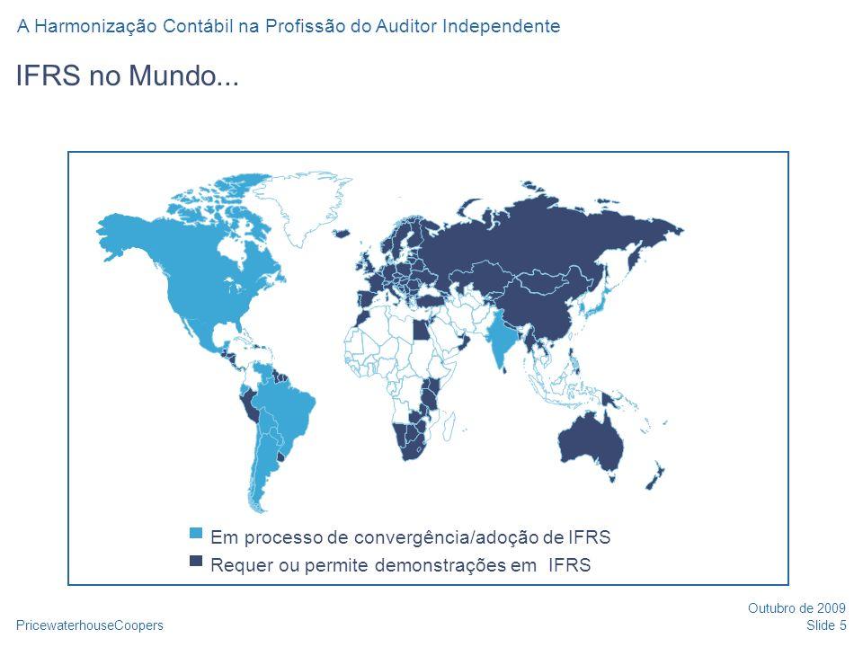 IFRS no Mundo... Em processo de convergência/adoção de IFRS