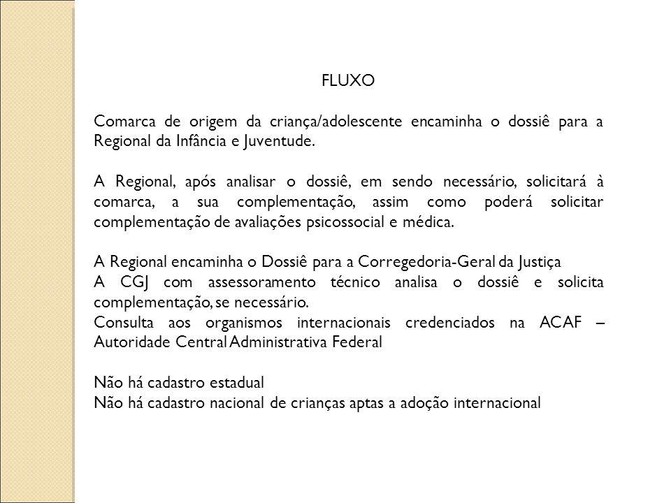 FLUXO Comarca de origem da criança/adolescente encaminha o dossiê para a Regional da Infância e Juventude.