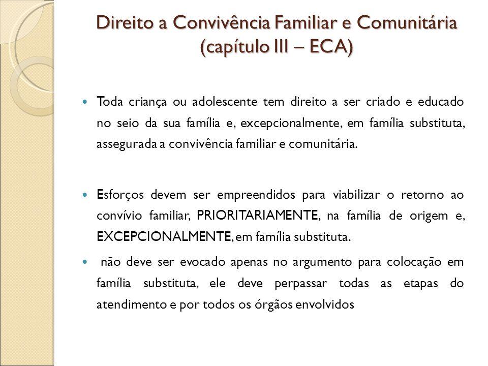 Direito a Convivência Familiar e Comunitária (capítulo III – ECA)
