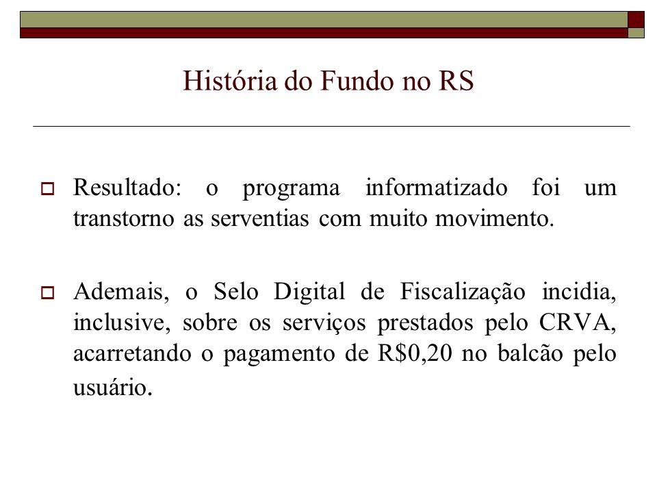 História do Fundo no RS Resultado: o programa informatizado foi um transtorno as serventias com muito movimento.