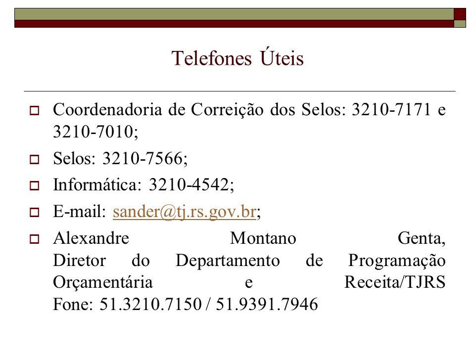 Telefones Úteis Coordenadoria de Correição dos Selos: 3210-7171 e 3210-7010; Selos: 3210-7566; Informática: 3210-4542;