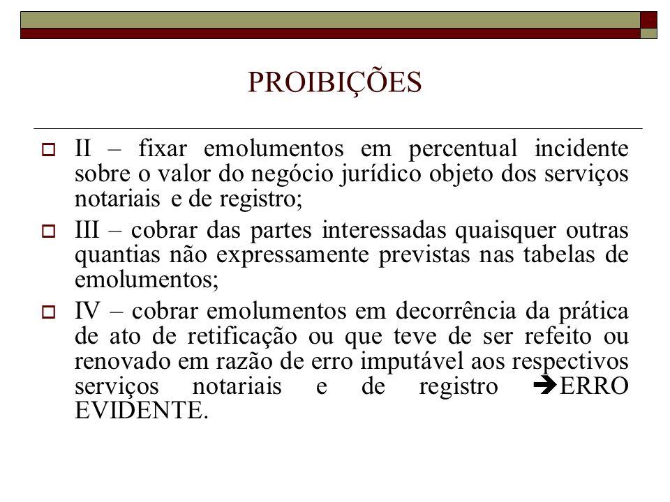 PROIBIÇÕES II – fixar emolumentos em percentual incidente sobre o valor do negócio jurídico objeto dos serviços notariais e de registro;