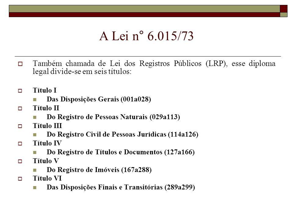 A Lei n° 6.015/73 Também chamada de Lei dos Registros Públicos (LRP), esse diploma legal divide-se em seis títulos: