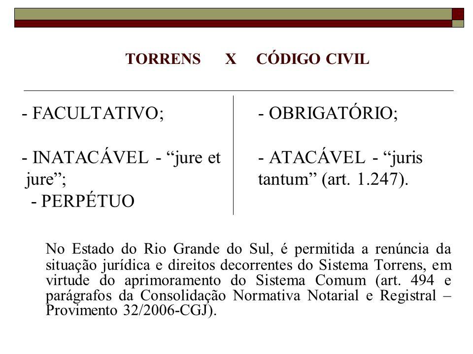 TORRENS X CÓDIGO CIVIL - FACULTATIVO; - OBRIGATÓRIO; - INATACÁVEL - jure et - ATACÁVEL - juris.