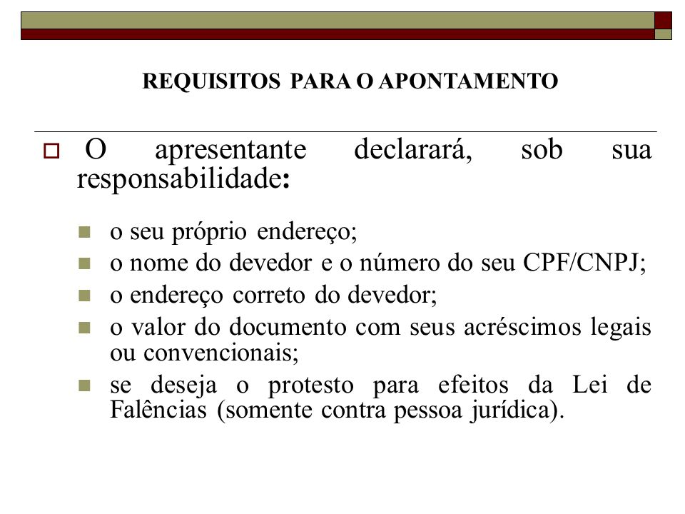 REQUISITOS PARA O APONTAMENTO