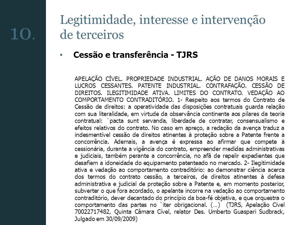 10. Legitimidade, interesse e intervenção de terceiros