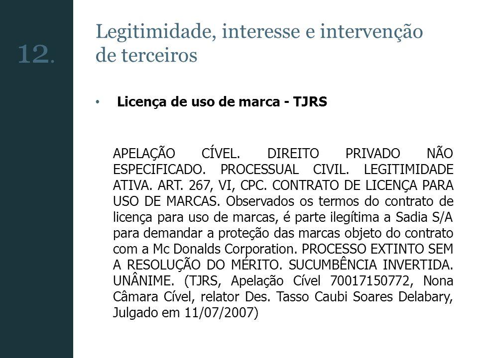 12. Legitimidade, interesse e intervenção de terceiros