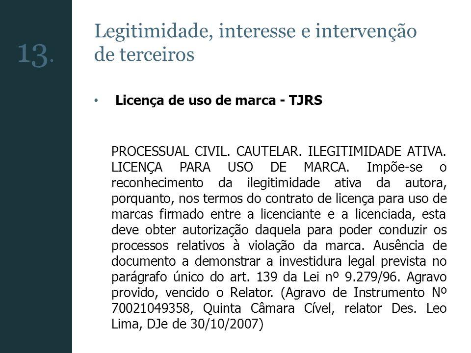 13. Legitimidade, interesse e intervenção de terceiros