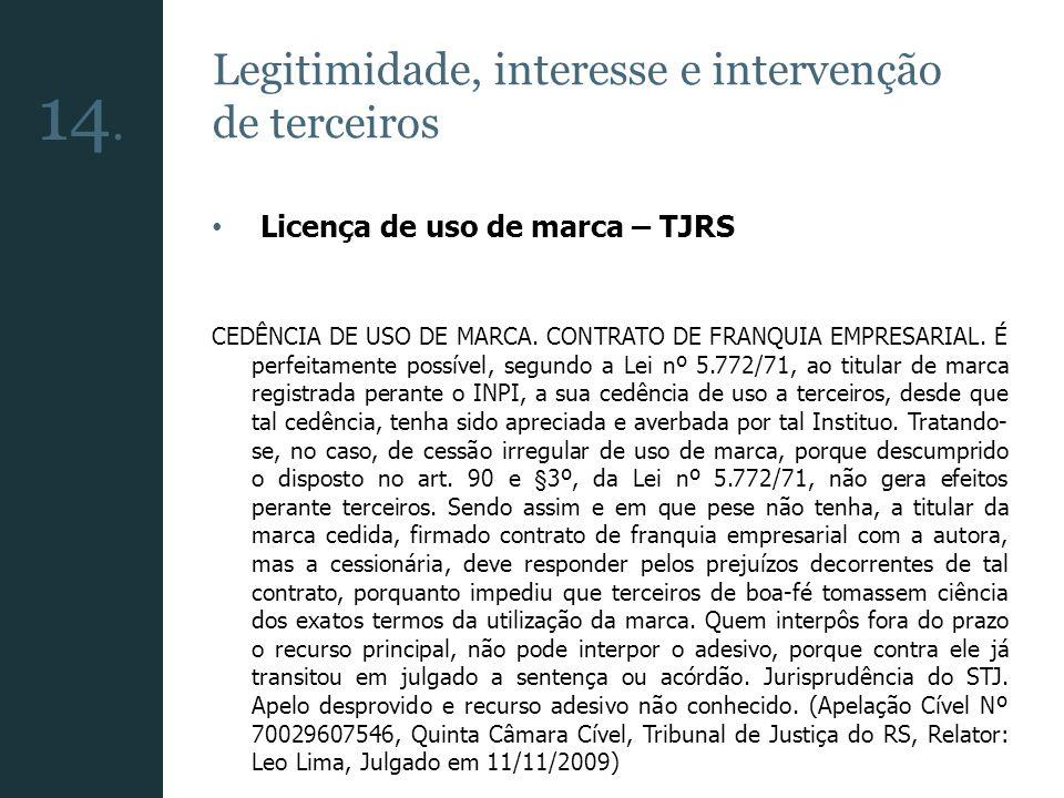 14. Legitimidade, interesse e intervenção de terceiros