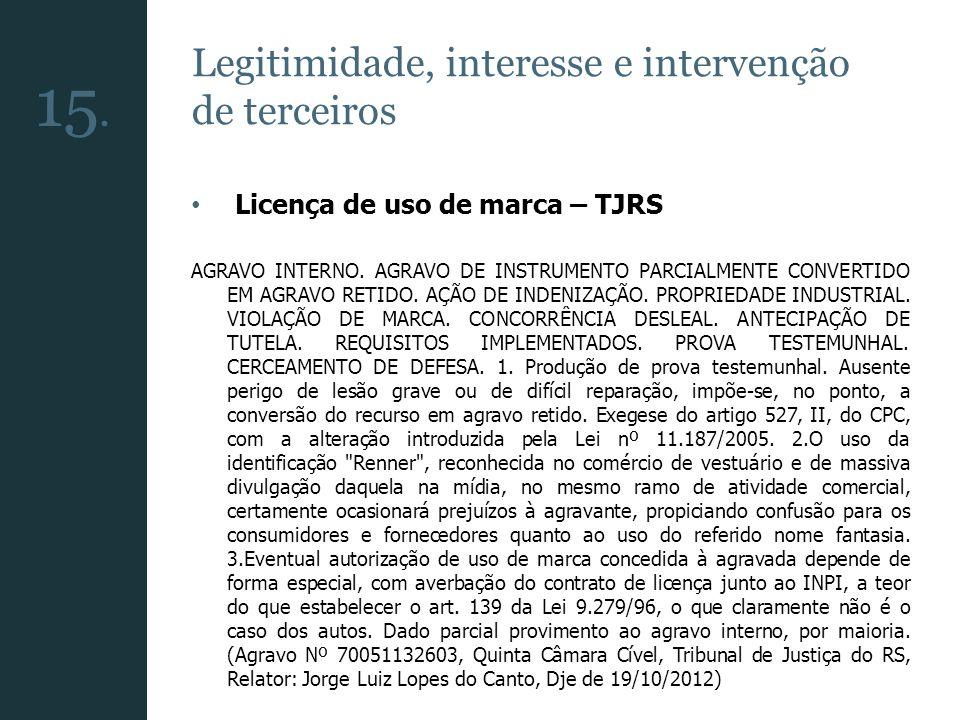 15. Legitimidade, interesse e intervenção de terceiros
