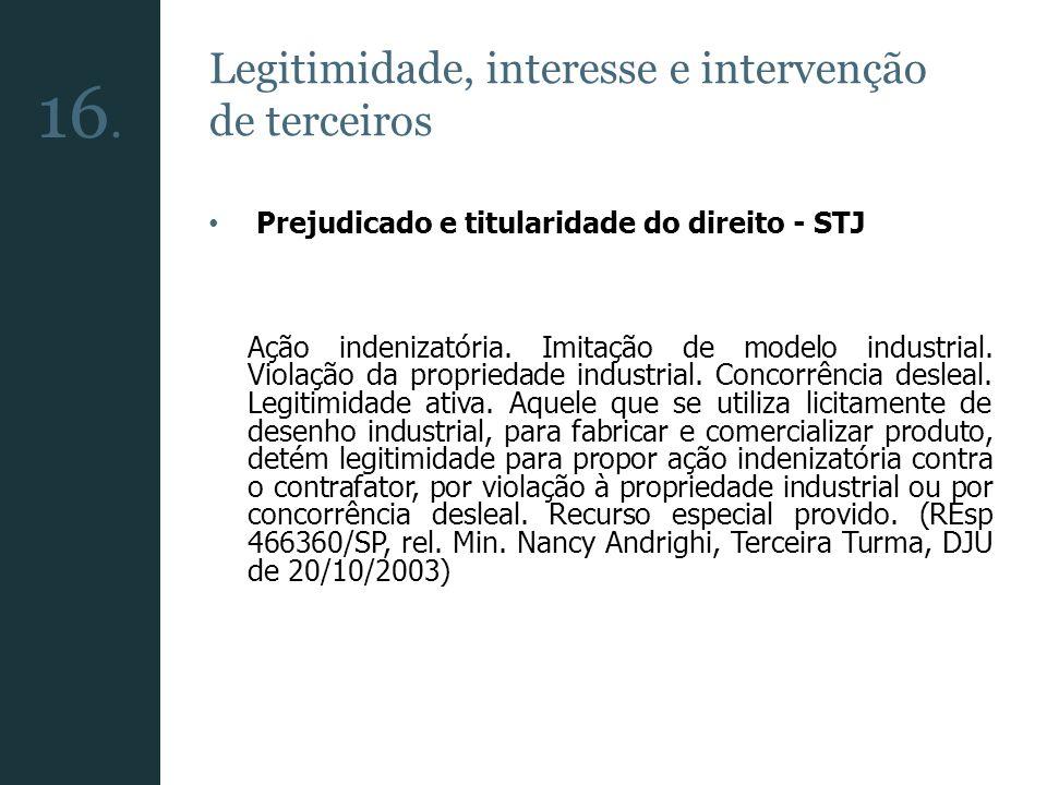 16. Legitimidade, interesse e intervenção de terceiros