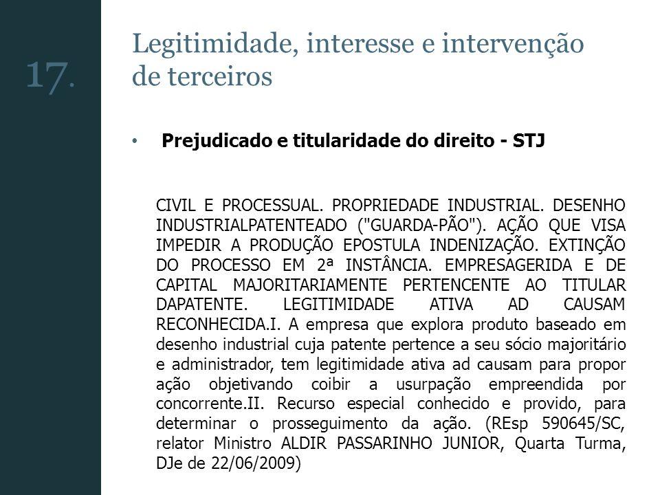17. Legitimidade, interesse e intervenção de terceiros