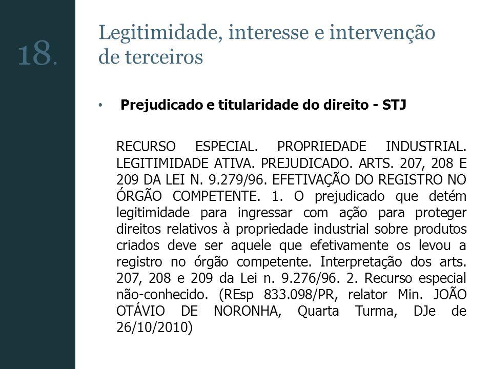 18. Legitimidade, interesse e intervenção de terceiros