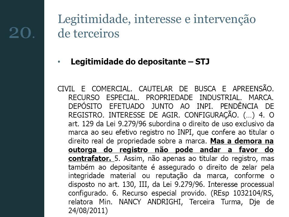 20. Legitimidade, interesse e intervenção de terceiros