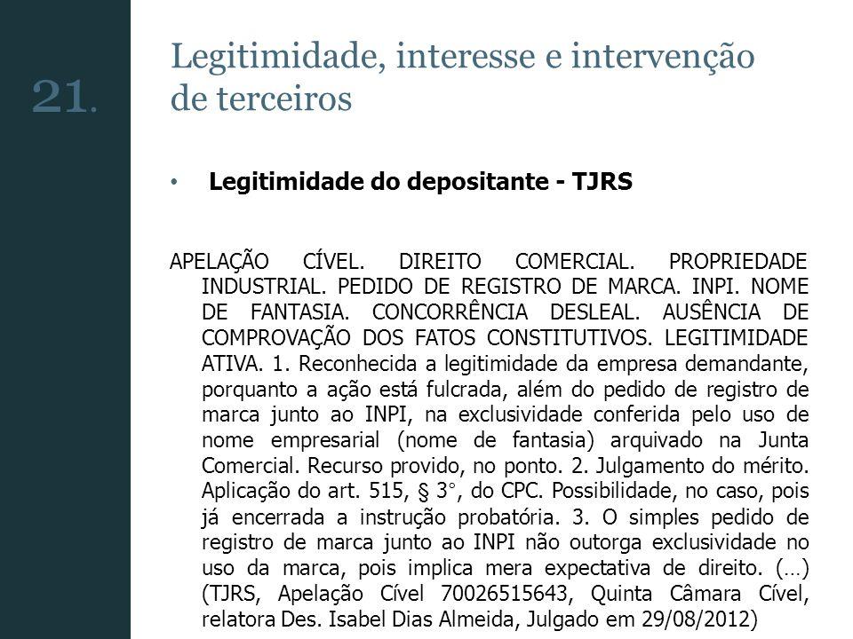 21. Legitimidade, interesse e intervenção de terceiros