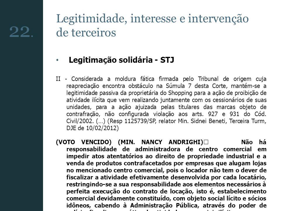 22. Legitimidade, interesse e intervenção de terceiros