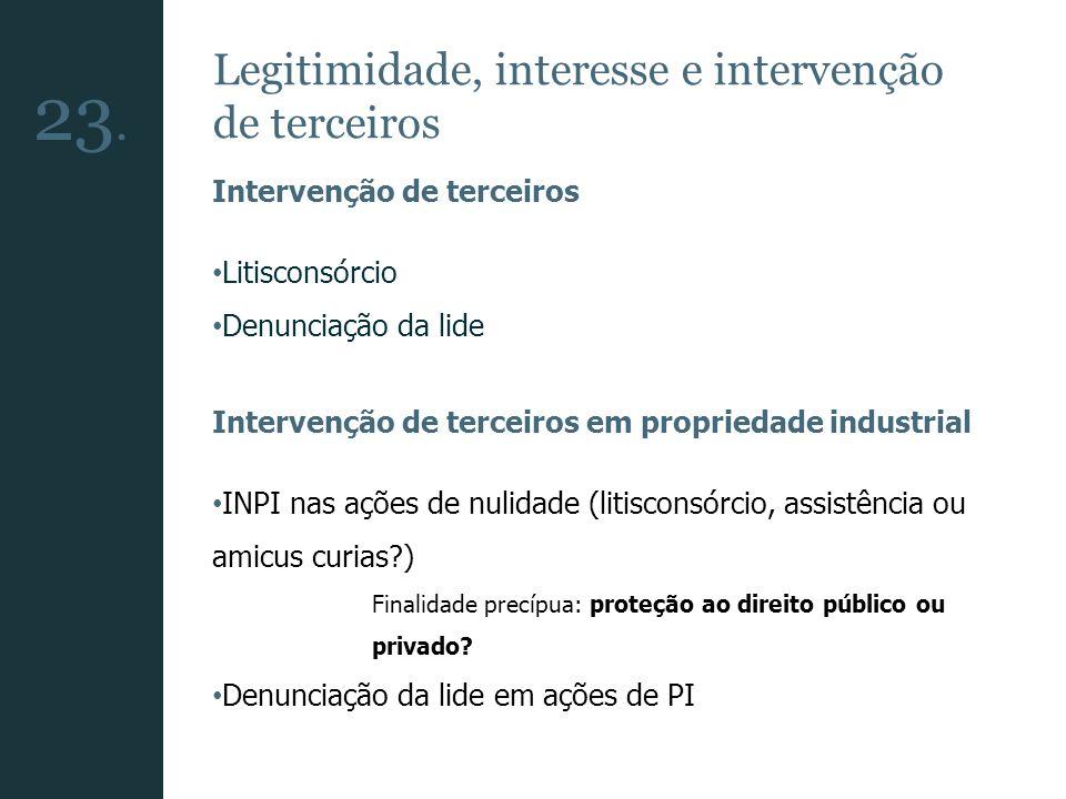 23. Legitimidade, interesse e intervenção de terceiros