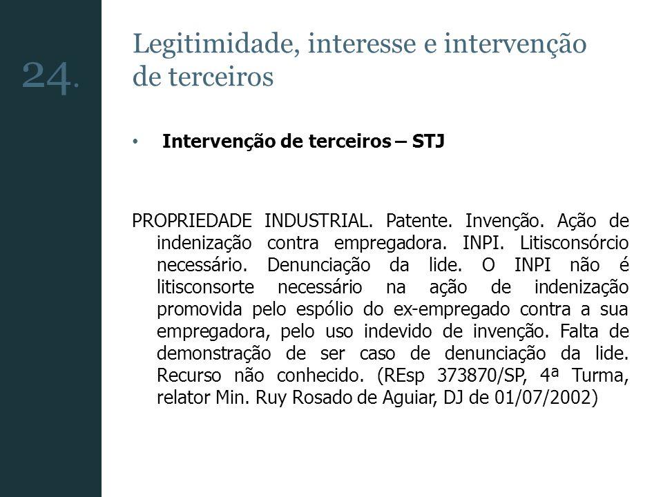 24. Legitimidade, interesse e intervenção de terceiros