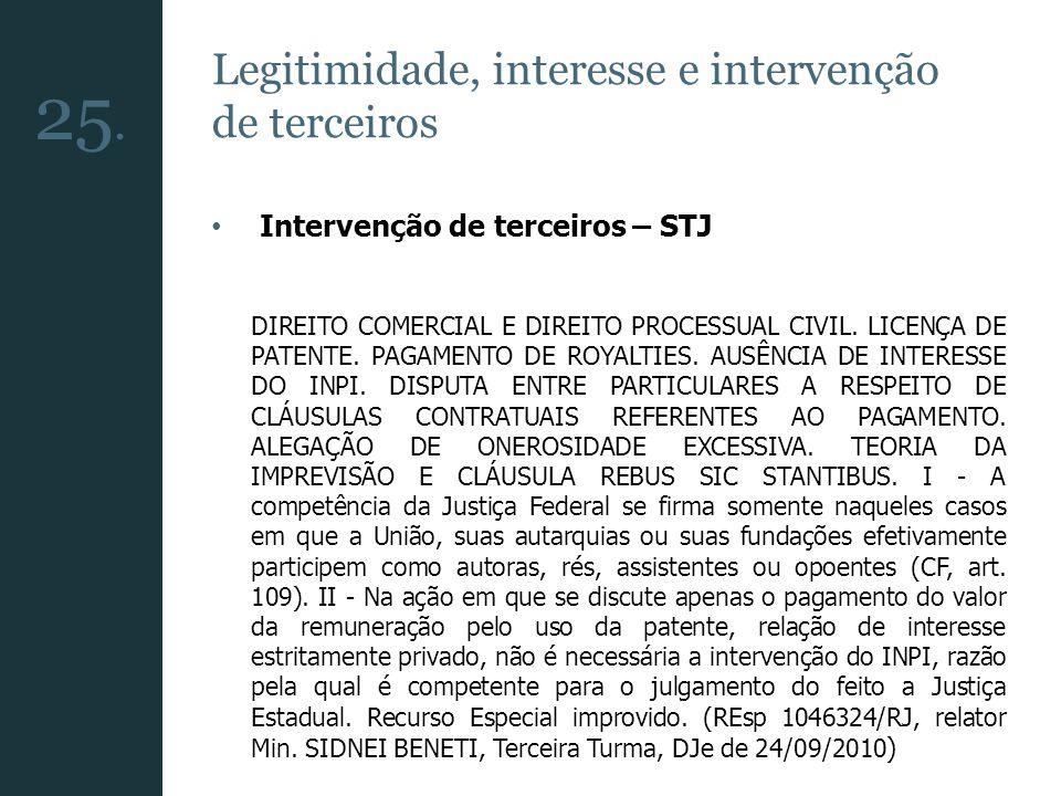 25. Legitimidade, interesse e intervenção de terceiros