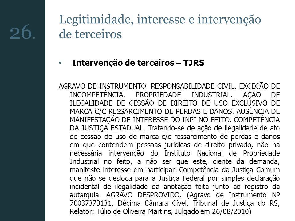 26. Legitimidade, interesse e intervenção de terceiros