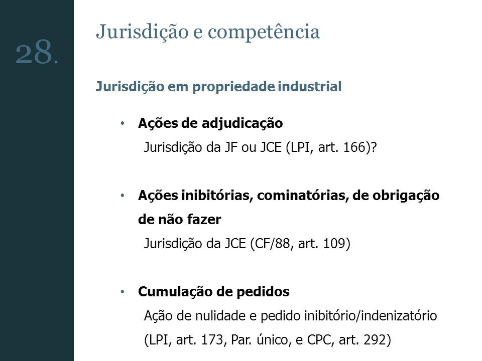 28. Jurisdição e competência Jurisdição em propriedade industrial