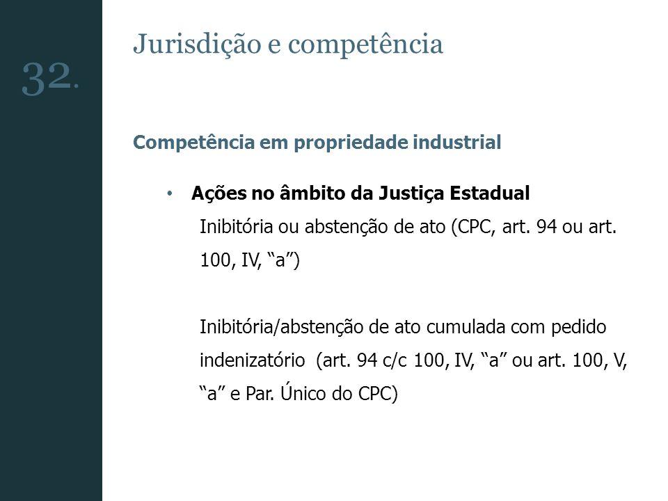 32. Jurisdição e competência Competência em propriedade industrial