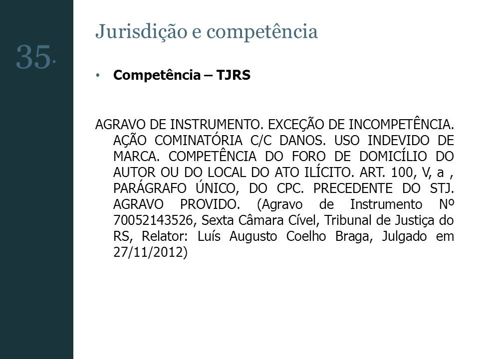 35. Jurisdição e competência Competência – TJRS