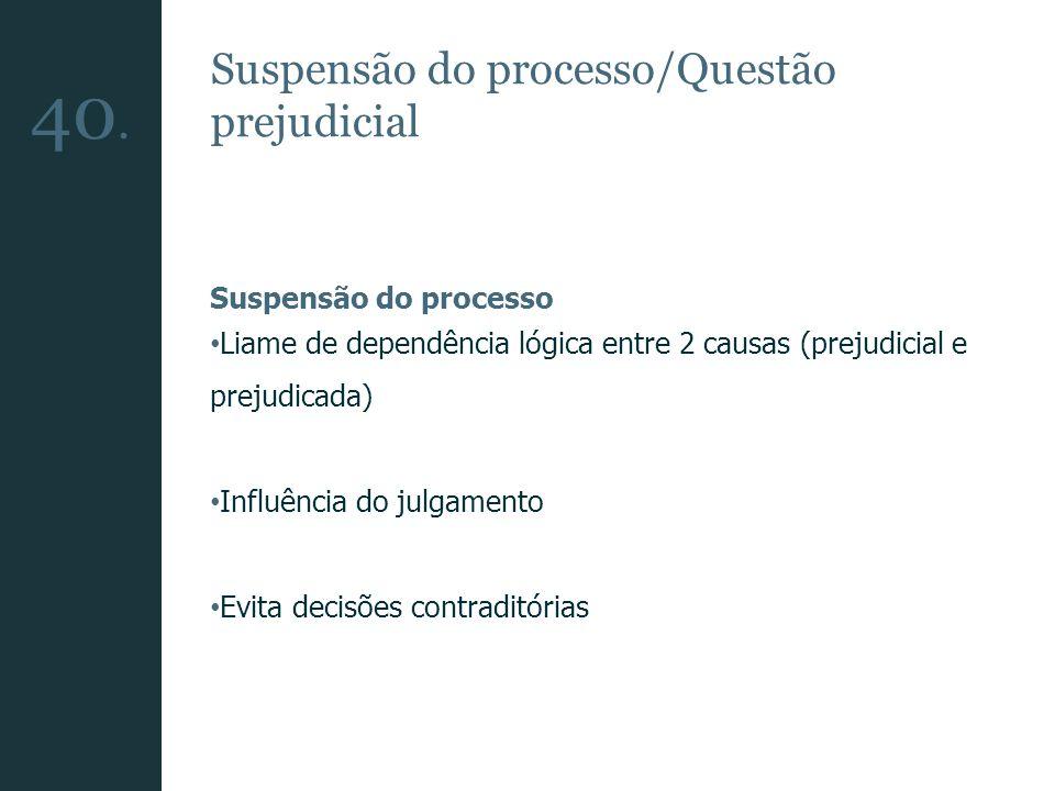 40. Suspensão do processo/Questão prejudicial Suspensão do processo