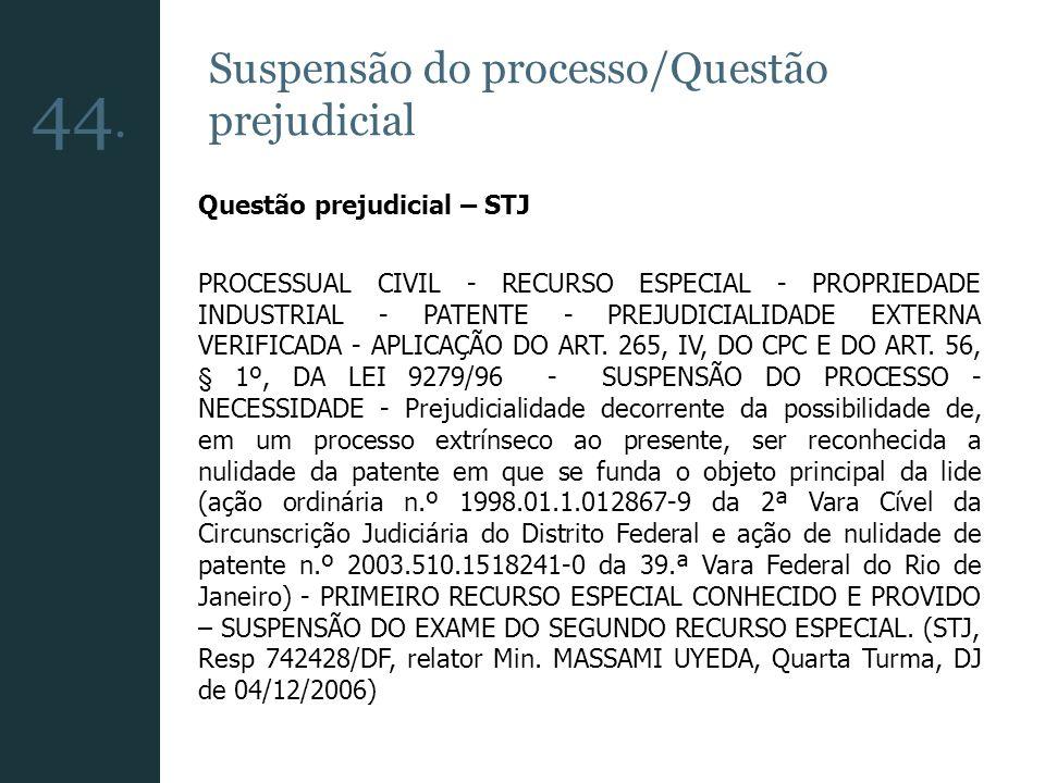 44. Suspensão do processo/Questão prejudicial